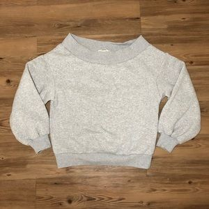 Off the shoulder puffy sweater